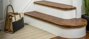 stair edging strip fitted to rounded step & LVT