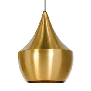 This pendant light from Tom Dixon has a warm, mellow brass tone