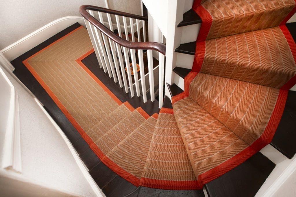 Border stair runner binding available from Carpetrunners