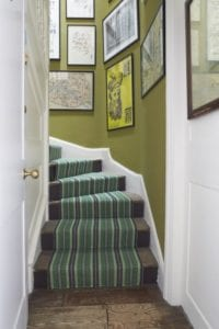 Striped green fitted carpet on stairs Masai Green