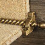 Balladeer ball end stair rod, twisted rod, antique brass