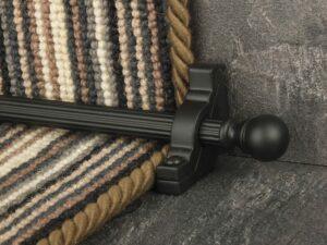 Balladeer ball end stair rod, grooved rod, black
