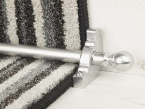 Balladeer ball end stair rod, brushed chrome