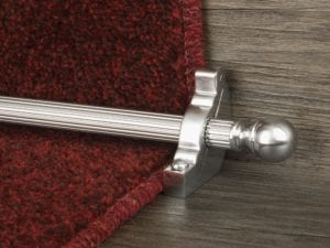 Balladeer ball end stair rod, grooved rod, brushed chrome