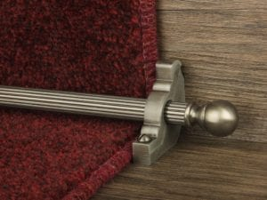 Balladeer ball end stair rod, grooved rod, pewter