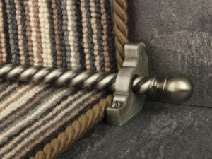 Balladeer ball end stair rod, twisted rod, pewter