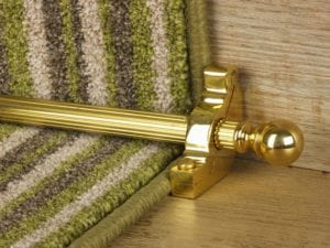 Balladeer ball end stair rod, grooved rod, polished brass
