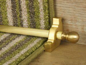 Balladeer ball end stair rod, grooved rod, satin brass