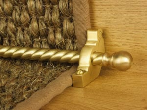 Balladeer ball end stair rod, twisted rod, satin brass