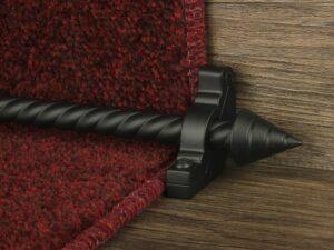Arrow runner carpet rod, spiral rod, arrow-shaped end, bracket, black