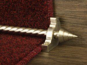 Arrow runner carpet rod, spiral rod, arrow-shaped end, bracket, satin nickel