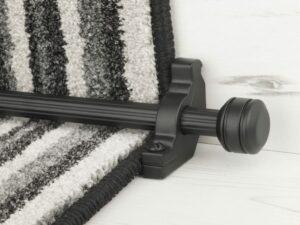 Piston runner carpet rod, fluted rod design, grooved ball end, bracket, black
