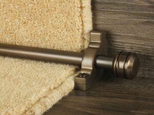 Piston runner carpet rod, grooved ball end, bracket, bronze