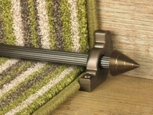 Arrow runner carpet rod, fluted rod design, arrow-shaped end, bracket, bronze