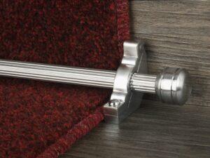 Piston runner carpet rod, fluted rod design, grooved ball end, bracket, brushed chrome
