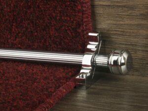 Piston runner carpet rod, fluted rod design, grooved ball end, bracket, chrome