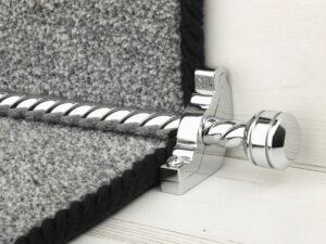 Piston runner carpet rod, twisted rod design, grooved ball end, bracket, chrome