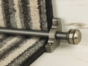 Piston runner carpet rod, grooved ball end, bracket, pewter