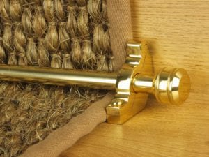 Piston runner carpet rod, grooved ball end, bracket, polished brass