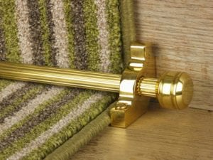 Piston runner carpet rod, fluted rod design, grooved ball end, bracket, polished brass