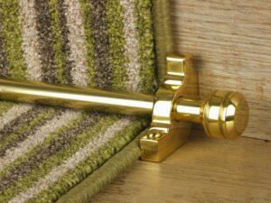 Piston runner carpet rod, grooved ball end, bracket, satin brass