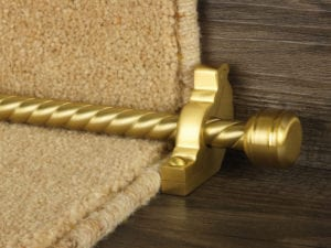 Piston runner carpet rod, twisted rod design, grooved ball end, bracket, satin brass
