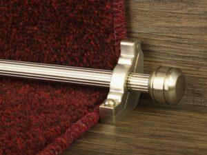 Piston runner carpet rod, fluted rod design, grooved ball end, bracket, satin nickel