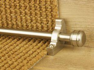 Piston runner carpet rod, grooved ball end, bracket, satin nickel