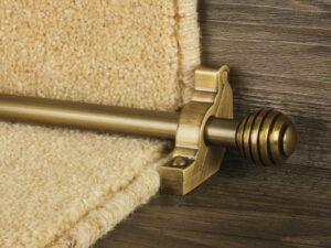 Sphere runner carpet rod, grooved ball end, antique brass
