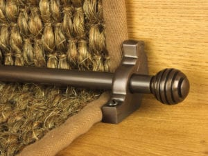 Sphere runner carpet rod, grooved ball end, bronze