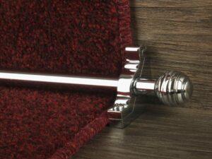 Sphere runner carpet rod, grooved ball end, chrome