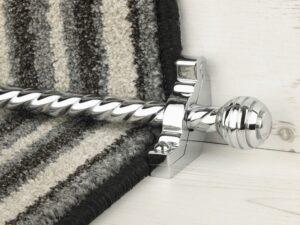 Sphere runner carpet rod, twisted design, grooved ball end, chrome