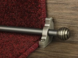 Sphere runner carpet rod, grooved ball end, pewter