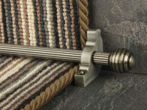 Sphere runner carpet rod, reeded design, grooved ball end, pewter