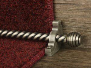Sphere runner carpet rod, twisted design, grooved ball end, pewter