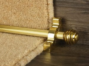 Sphere runner carpet rod, reeded design, grooved ball end, polished brass
