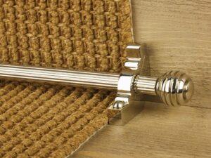 Sphere runner carpet rod, reeded design, grooved ball end, polished nickel
