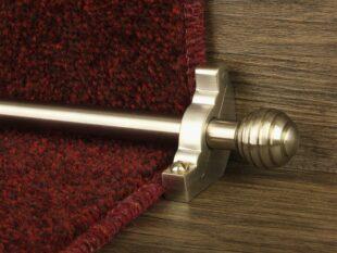 Sphere runner carpet rod, grooved ball end, satin nickel