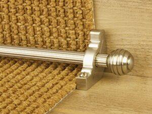 Sphere runner carpet rod, reeded design, grooved ball end, satin nickel