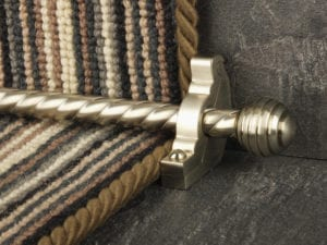 Sphere runner carpet rod, twisted design, grooved ball end, satin nickel