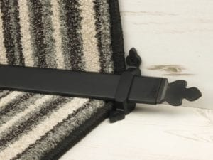 Beaumont design of stair rod with decorative ends, black, fitted to stair runner