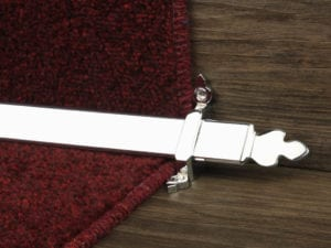 Beaumont design of stair rod with decorative ends, chrome, fitted to stair runner