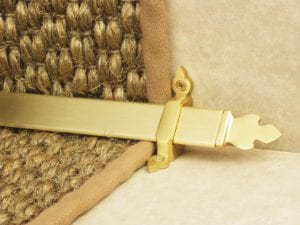 Beaumont design of stair rod with decorative ends, satin brass, fitted to stair runner