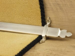 Beaumont design of stair rod with decorative ends, satin nickel, fitted to stair runner
