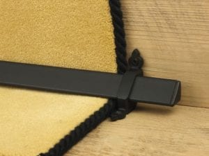 Vue design of stair rod with flat ends, black, fitted to stair runner