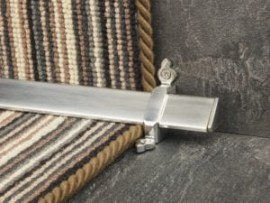 Vue design of stair rod with flat ends, brushed chrome fitted to stair runner