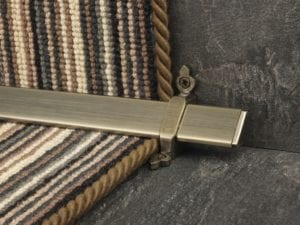 Vue design of stair rod with flat ends, pewter, fitted to stair runner