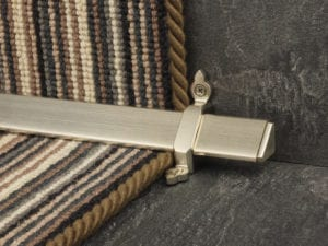 Vue design of stair rod with flat ends, stain nickel, fitted to stair runner