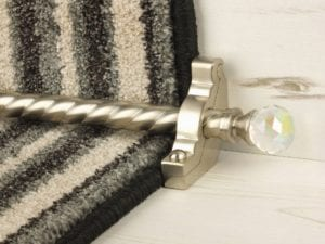 Crystal Rainbow carpet rod with matching brackets on striped stair runner, satin nickel
