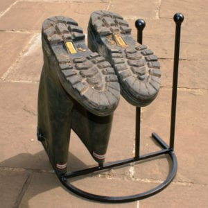 Wrought iron black wellington boot stand for 2 pairs of boots